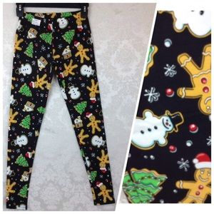 Gingerbread Cookies Ankle Leggings Jrs XS 1 NWT
